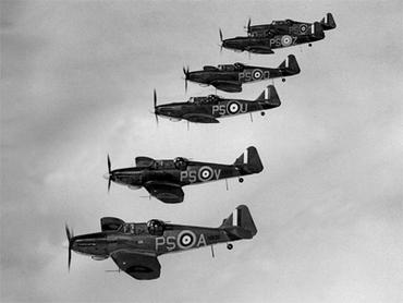 A section of Boulton-Paul Defiant fighters in formation.